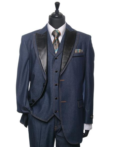 Mens teal Denim Tuxedo 3 Piece Suit, act now only $175.00