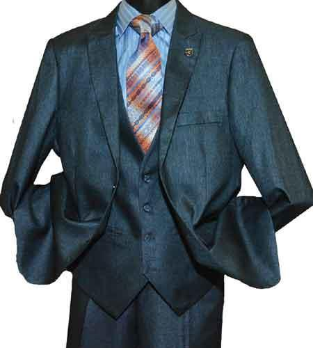 Mens Single Breasted Sharkskin Peak Lapel Suit In Teal, act now only $165.00