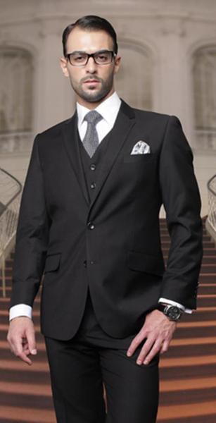 Mens Two Button Black Suit, act now only $175.00