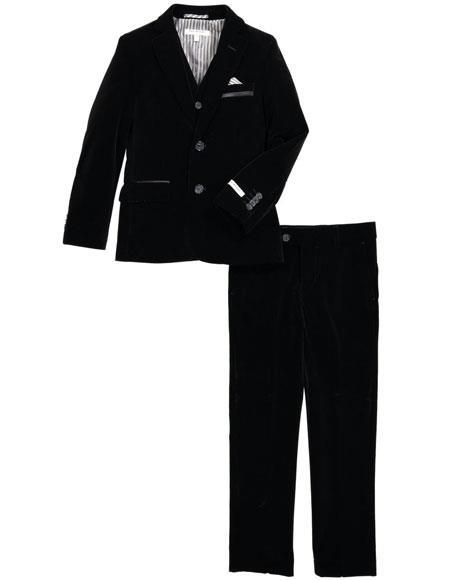 Mens Two Button Black Velvet Fabric Suit Jacket & Pants (no vest included) Suit, act now only $199.00