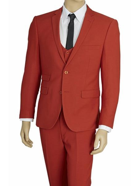 Mens Two Button Brick Red Stretch Fabric Extra Slim Fit Vested Suit, act now only $139.00