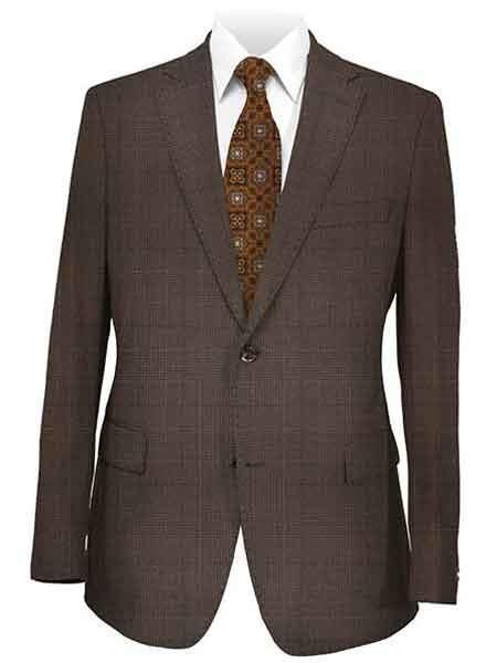 Mens Two Button brown color shade Plaid Suit, act now only $225.00