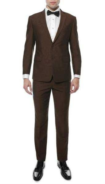 Mens Two Button Brown Color Two Button Fit Suit, act now only $129.00