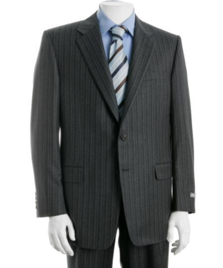 Mens Two Button Dark Grey Pinstripe Suit, act now only $119.00