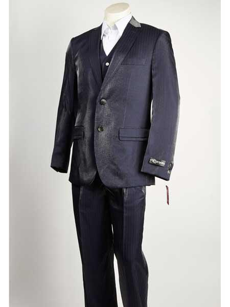 Mens Two Button Liquid Jet Black Pinstripe Suit, act now only $199.00