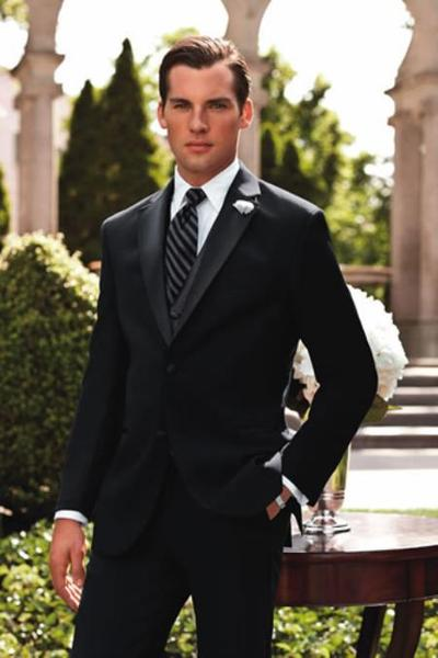 Mens Two Button Liquid Jet Black Suit, act now only $159.00