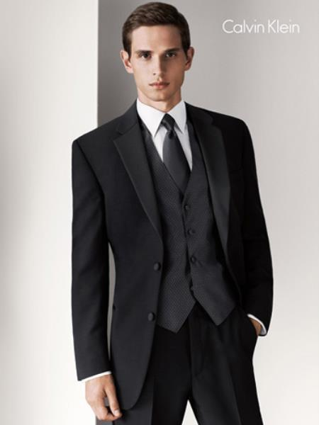 Mens Two Button Liquid Jet Black Tuxedo, act now only $265.00