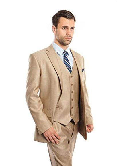 Mens Two Button Modern Fit Stone Vested Suits Flat Front Pants Suit, act now only $150.00