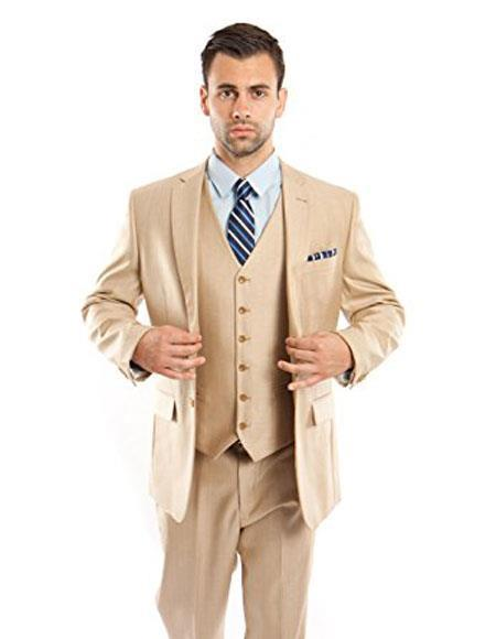 Mens Two Button Modern Fit Vested Light Beige Suits Flat Front Pants Suit, act now only $150.00