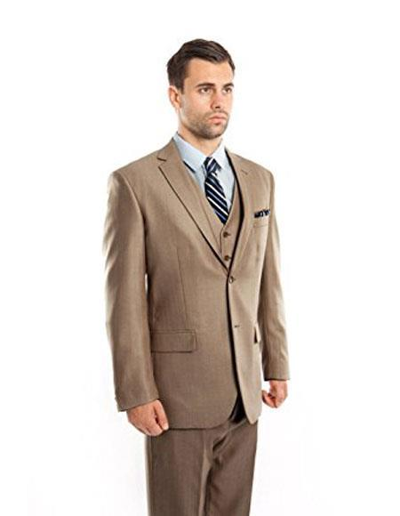 Mens Two Button Modern Fit Vested Suits Flat Front Pants Suit, act now only $150.00