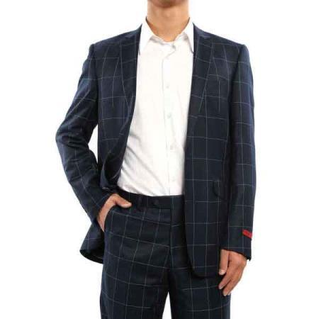 Mens Two Button Navy Blue Suit, act now only $199.00