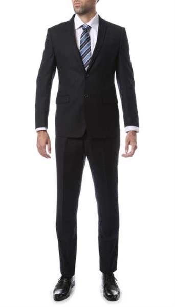 Mens Two Button Navy Blue Suit, act now only $129.00