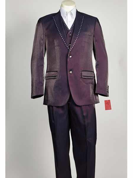 Mens Two Button Purple color Suit, act now only $199.00