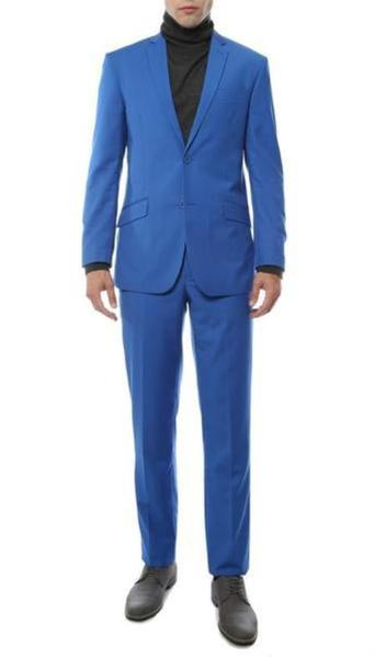 Mens Two Button Royal Blue Suit, act now only $129.00