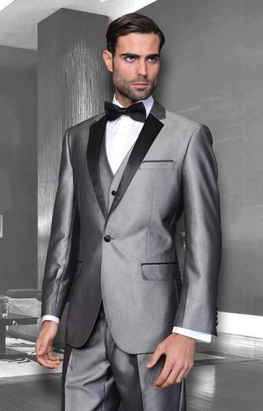 Mens Two Button Silver Grey Suit, act now only $250.00