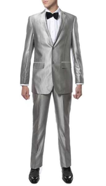 Mens Two Button Silver Suit, act now only $129.00