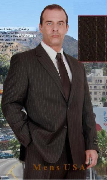 Mens Two Button Style brown color shade Pinstripe Suit, act now only $139.00
