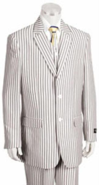 Mens Two Button Style Jacket Pleated Slacks Pants Pronounce Pinstripe Suit, act now only $175.00