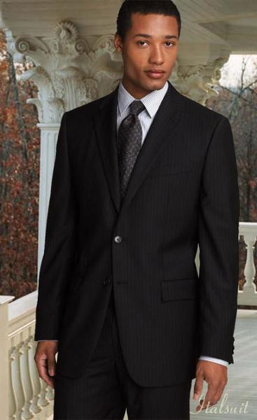 Mens two button style pinstripe color liquid jet black suit, act now only $189.00
