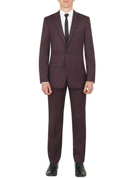 Mens Two Button Style Plum ~ Eggplant ~ Dark Burgundy Suit, act now only $139.00