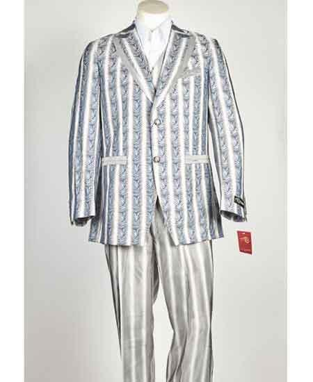 Mens Two Button Style Sky Blue Vested Suit, act now only $199.00
