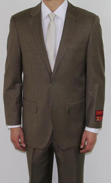 Mens Two Button Taupe Wool Fabric Suit, act now only $189.00