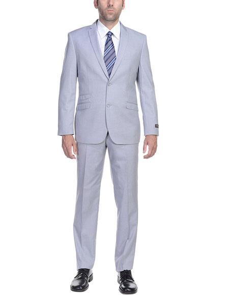 Mens Two Button(Ticket Pocket Mens Slim Fit Two-Piece Single Breasted Jacket Pants ) Suit, act now only $125.00