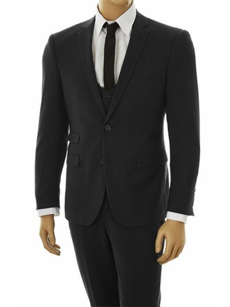 Mens Two Button Tight Black Stretchy Fabric Ultra Slim Fit Vested Suit, act now only $140.00