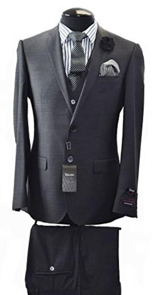 Mens Two Button Tiglio Italian Slim Fit Black Suit, act now only $340.00