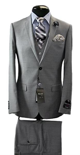 Mens Two Button Tiglio Italian Slim Fit Grey Suit, act now only $340.00
