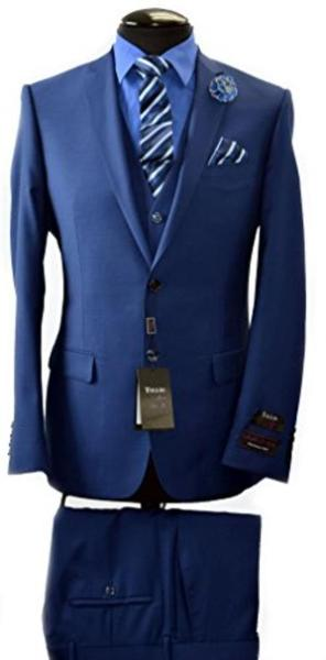 Mens Two Button Tiglio Italian Slim Fit Navy Suit, act now only $340.00