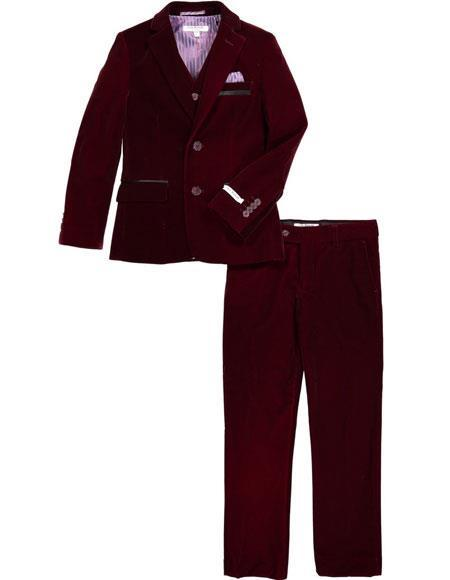 Mens Two Button Velvet Fabric Burgundy Suit Jacket & Pants (no vest included) Suit, act now only $199.00