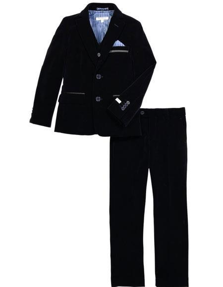 Mens Two Button Velvet Fabric Suit Jacket & Pants Navy (no vest included) Suit, act now only $199.00
