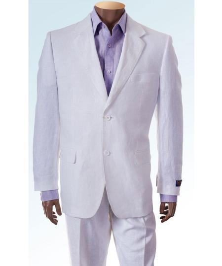 Mens Two Button White Linen Suit, act now only $165.00