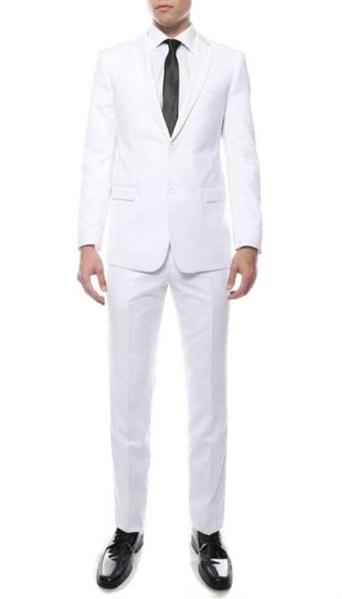 Mens Two Button White Zonettie Suit, act now only $129.00
