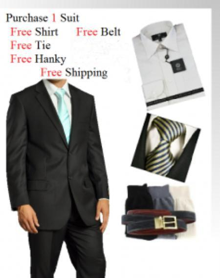 Mens Two Button Wool Fabric Liquid Jet Black Suit, act now only $139.00