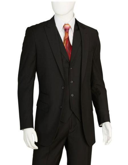 Mens Two Buttons Black Vested Suit Pleated Pants Regular Fit Suit, act now only $139.00