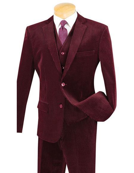 Mens Two Buttons Burgundy Pinstripe ~ Stripe corduroy vested suits Flat Front Pants Suit, act now only $159.00