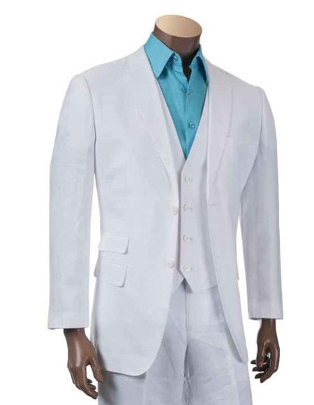 Mens Two Buttons Linen fashion vested White Three piece suit, act now only $225.00