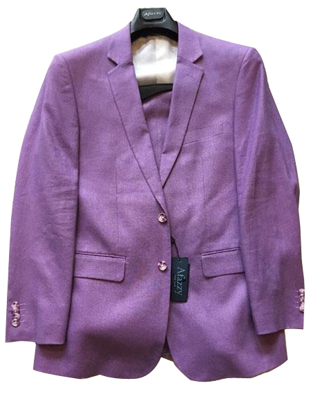 Mens Two Buttons Linen Modern Fit Lavender lined suit, act now only $189.00