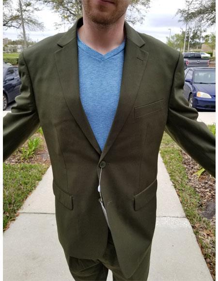 Mens Two Buttons Medium Olive Green Suit Pleated Pants Notch Lapel Suit, act now only $189.00