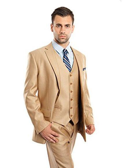 Mens Two Buttons Modern Fit Vested Suits Flat Front Pants Suit, act now only $150.00