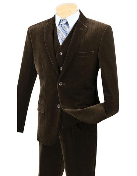 Mens Two Buttons Pinstripe ~ Stripe corduroy 2 piece vested suits Flat Front Pants Suit, act now only $159.00