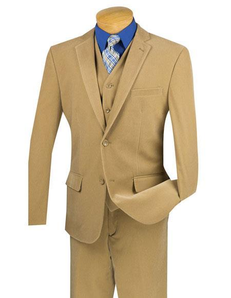Mens Two Buttons Pinstripe ~ Stripe Khaki corduroy vested suits Flat Front Pants Suit, act now only $159.00