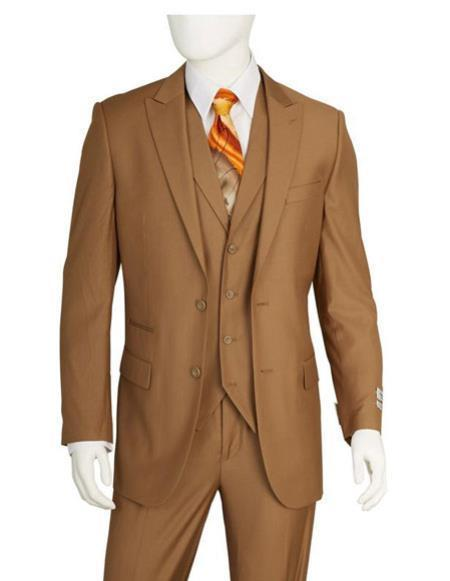 Mens Two Buttons Taupe Vested Suit Pleated Pants Regular Fit Suit, act now only $139.00