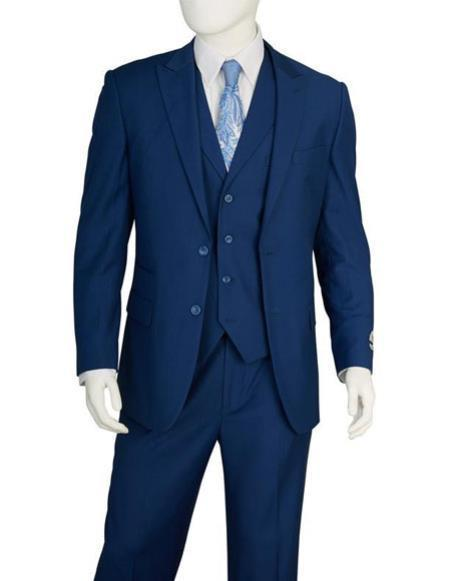 Mens Two Buttons Vested blue Suit Pleated Pants Regular Fit Suit, act now only $139.00