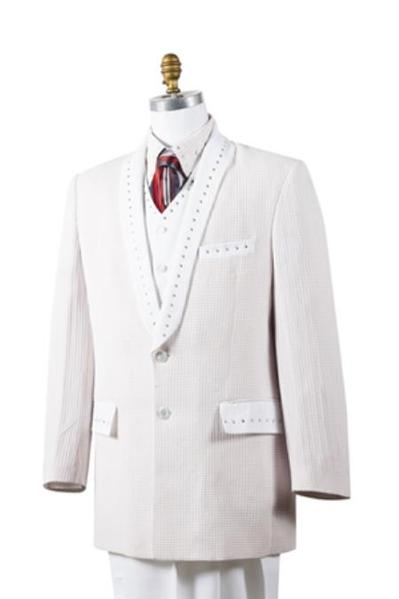 Mens White 2 Button Style Tuxedo Trimmed Pleated Slacks Pants, act now only $175.00