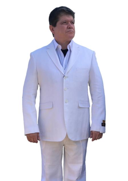 Mens White Alberto Nardoni Linen Summer Fabric Side Vented Suit, act now only $165.00