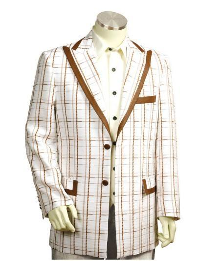 Mens White Coffee Two Button Style Suit, act now only $174.00