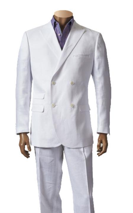 Mens White Double Breasted Online Sale Sport Coat Linen Jacket, act now only $299.00